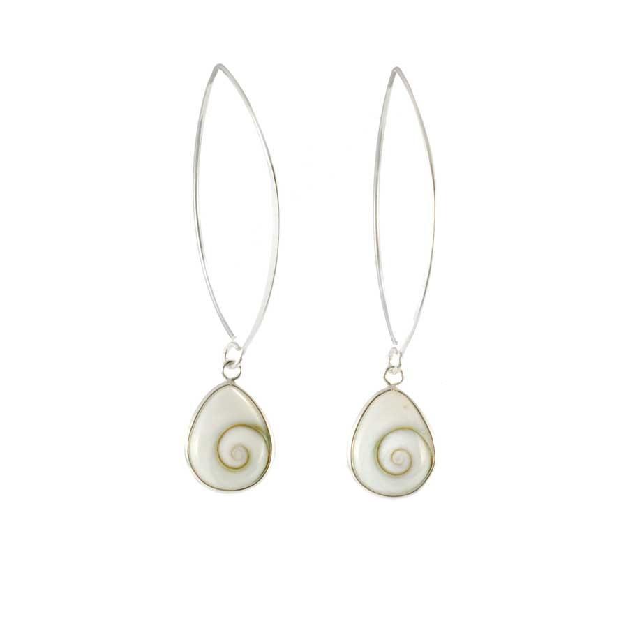 Boucles d'oreilles col de cygne en argent avec Oeil de Ste Lucie