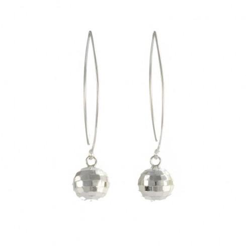 Boucles d'oreilles col de cygne avec boule d'argent - BOUCLES ARGENT - Boutique Nirvana