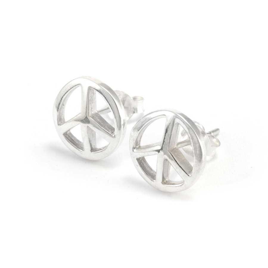 Boucles d'oreilles clou d'argent peace and love