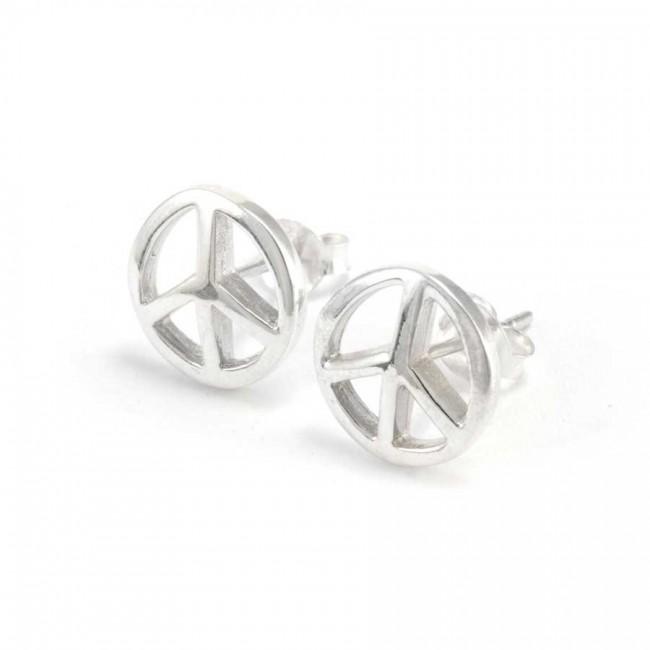 Boucles d'oreilles clou d'argent peace and love - BOUCLES ARGENT - Boutique Nirvana