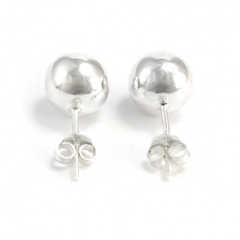 Silver Ball Stud Earrings - SILVER EARRINGS - Boutique Nirvana