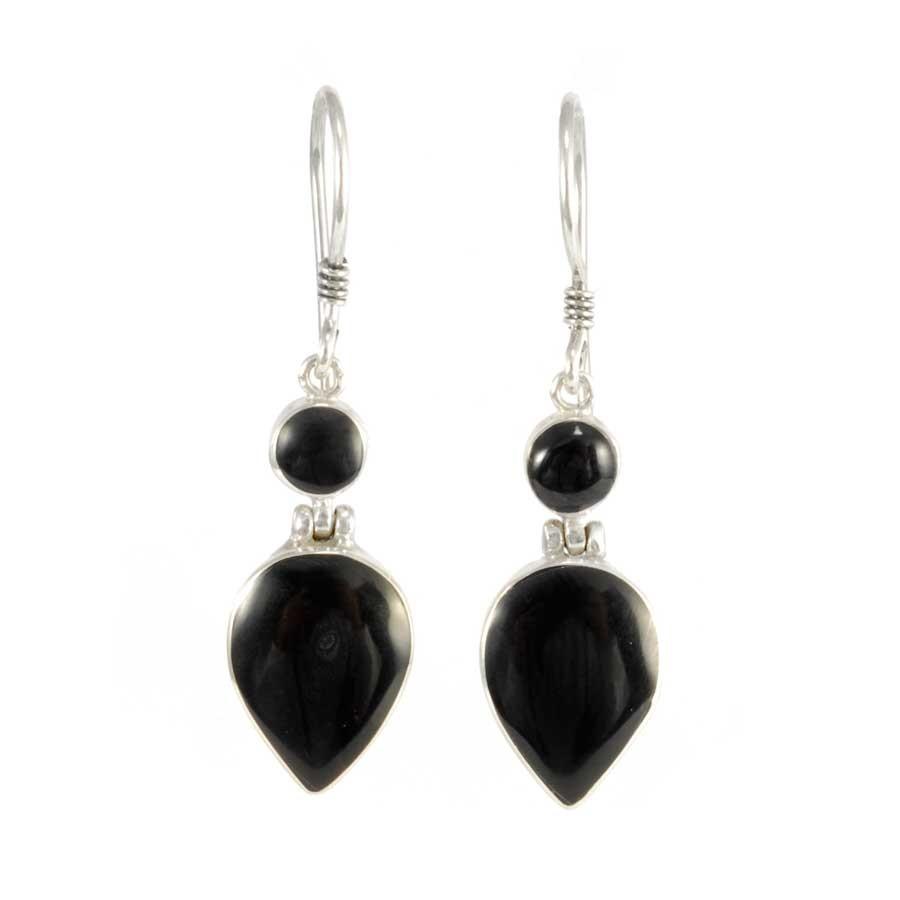 Two-Stone Dangle Earrings - BOUCLES ARGENT CORAIL & NACRE - Boutique Nirvana