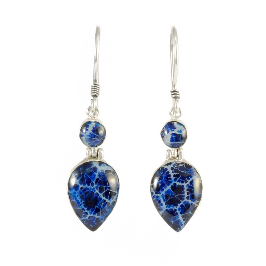 Boucles d'oreilles en argent pendante avec deux pierres - Corail, nacre etc. - Boutique Nirvana
