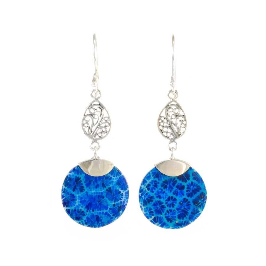 Boucles d'oreilles en argent pendante filigrane et pierre ronde - Corail, nacre etc. - Boutique Nirvana