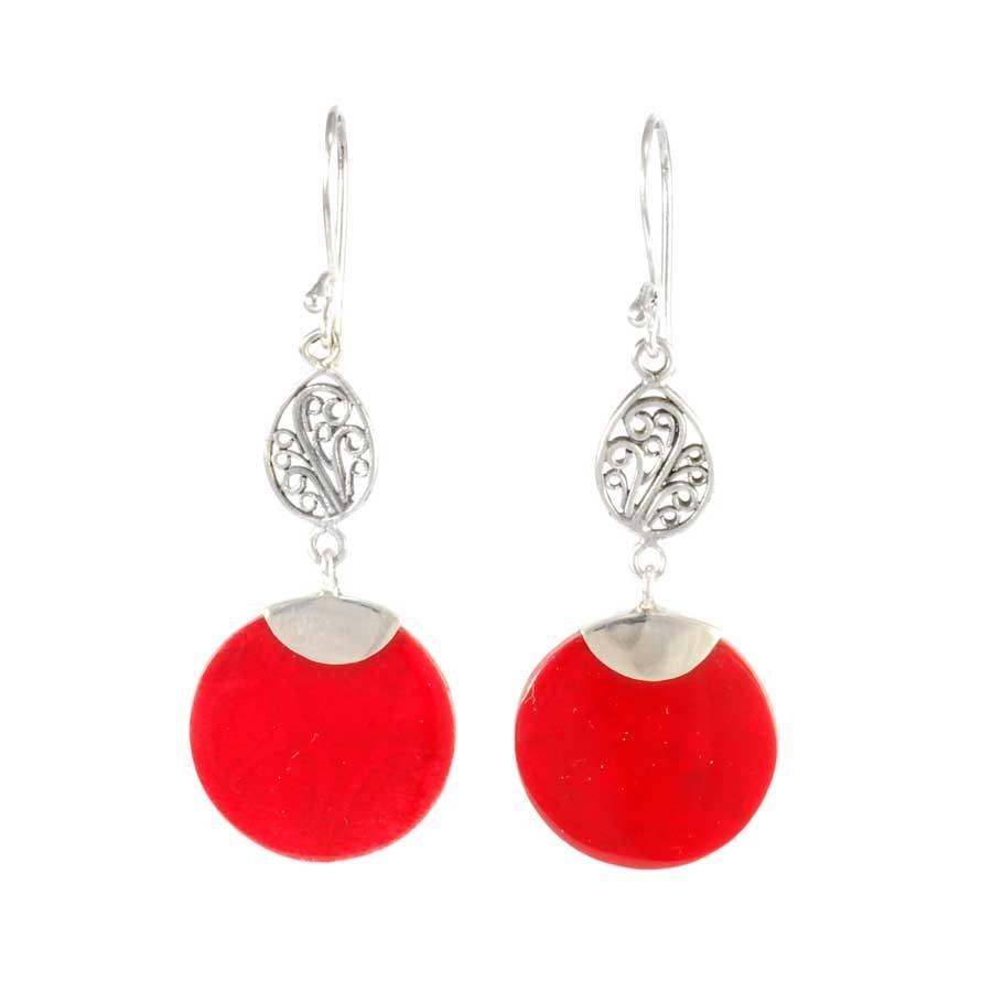 Round Stone Dangle Earrings - BOUCLES ARGENT CORAIL & NACRE - Boutique Nirvana