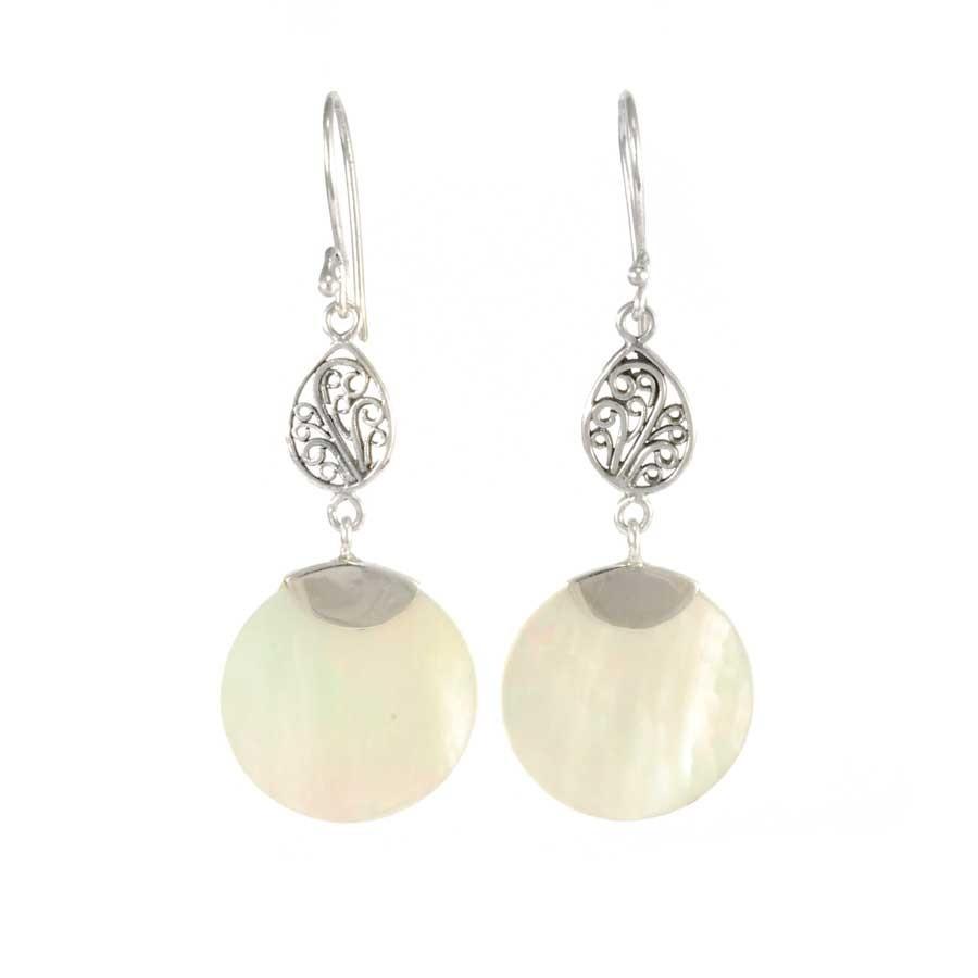 Boucles d'oreilles en argent pendante filigrane et pierre ronde