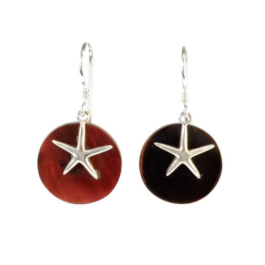 Starfish Natural Stone Dangle Earrings - BOUCLES ARGENT CORAIL & NACRE - Boutique Nirvana