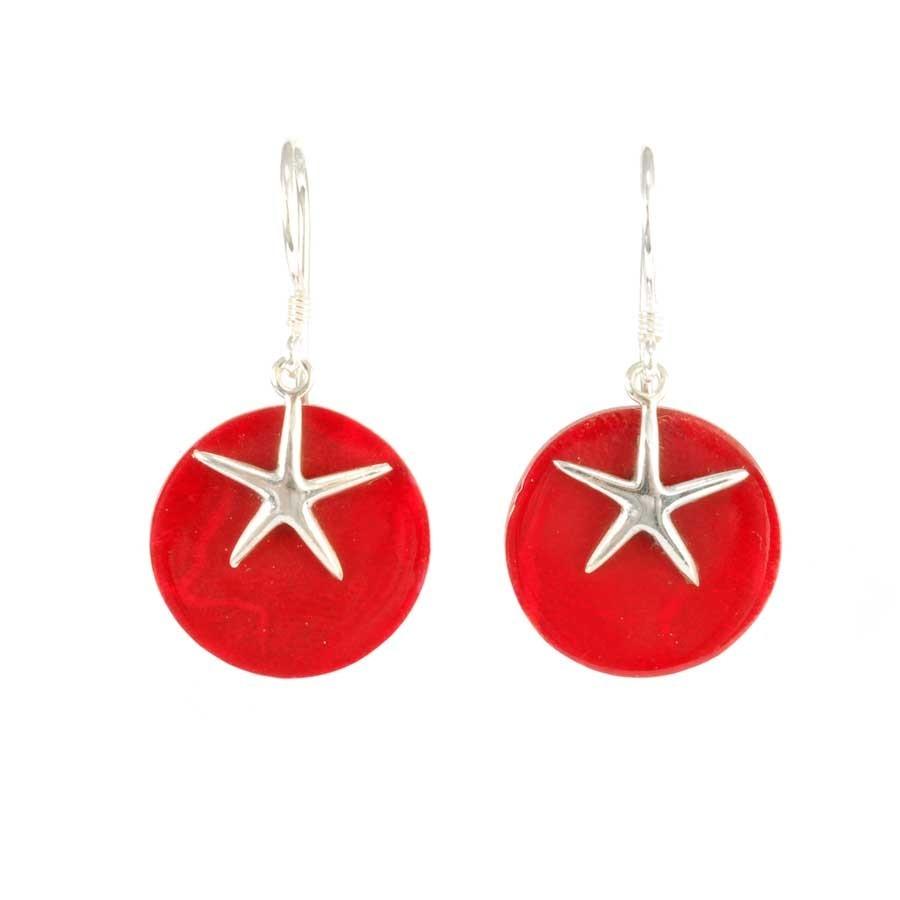 Boucles d'oreilles en argent rondes avec étoile de mer - Corail, nacre etc. - Boutique Nirvana