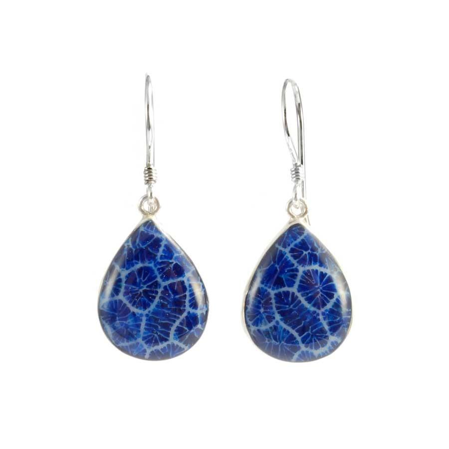 Natural Stone Drop Earrings - BOUCLES ARGENT CORAIL & NACRE - Boutique Nirvana