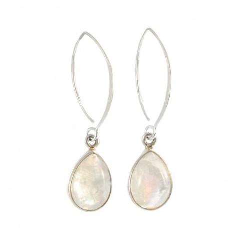 Boucles d'oreilles col de cygne en argent gouttes pierres - BOUCLES ARGENT - Boutique Nirvana