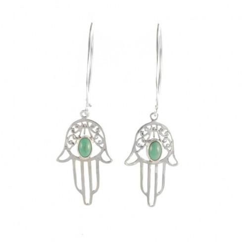Silver Hamsa Hand Drop Earrings - SILVER EARRINGS - Boutique Nirvana