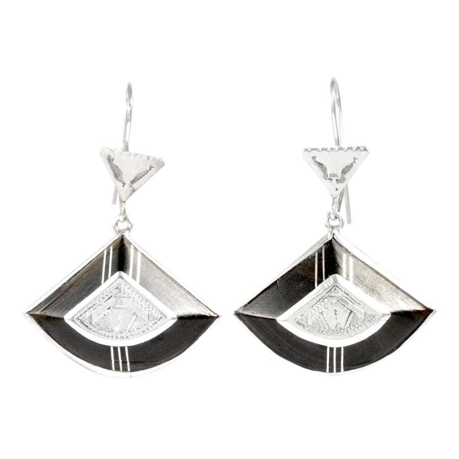 Authentic Silver and Ebony Tuareg Earrings - SILVER EARRINGS - Boutique Nirvana