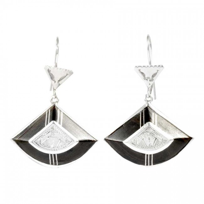 Authentic Silver and Ebony Tuareg Earrings - SILVER EARRINGS - Boutique Nirvana