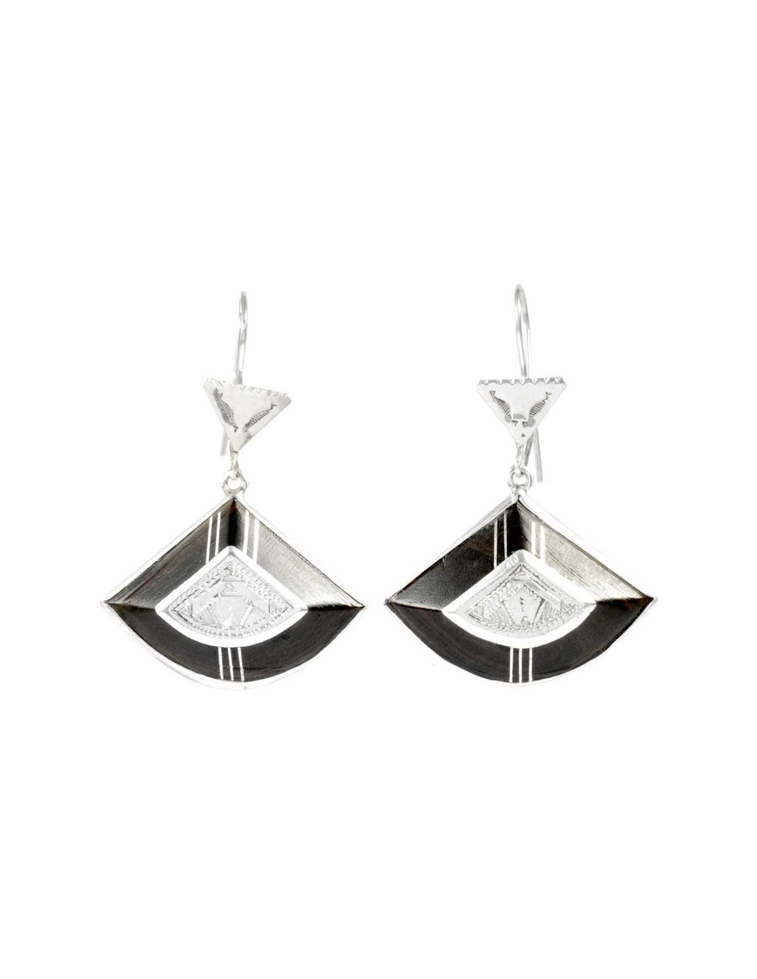 boucles d 39 oreilles touareg en argent et b ne boutique nirvana. Black Bedroom Furniture Sets. Home Design Ideas