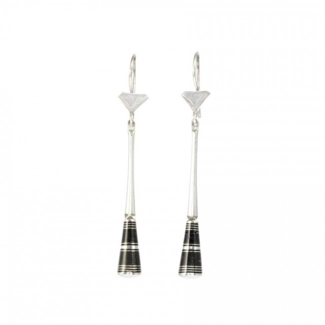 Long Silver and Ebony Tuareg Earring Range - SILVER EARRINGS - Boutique Nirvana