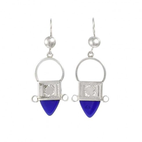 Traditional Silver and Glass Tuareg Earrings - SILVER EARRINGS - Boutique Nirvana