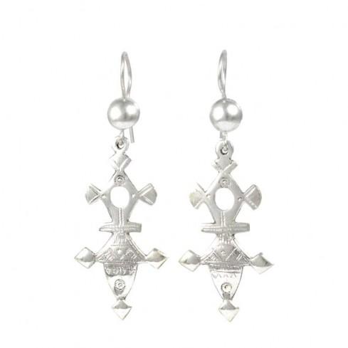 Boucles d'oreilles d'argent croix Touareg
