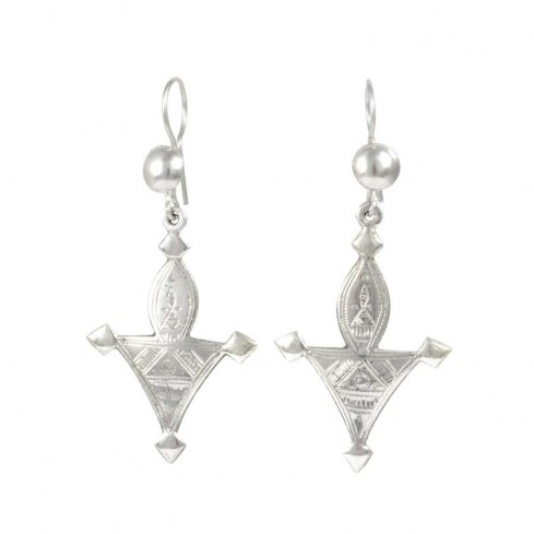 Boucles d'oreilles d'argent croix de Touareg