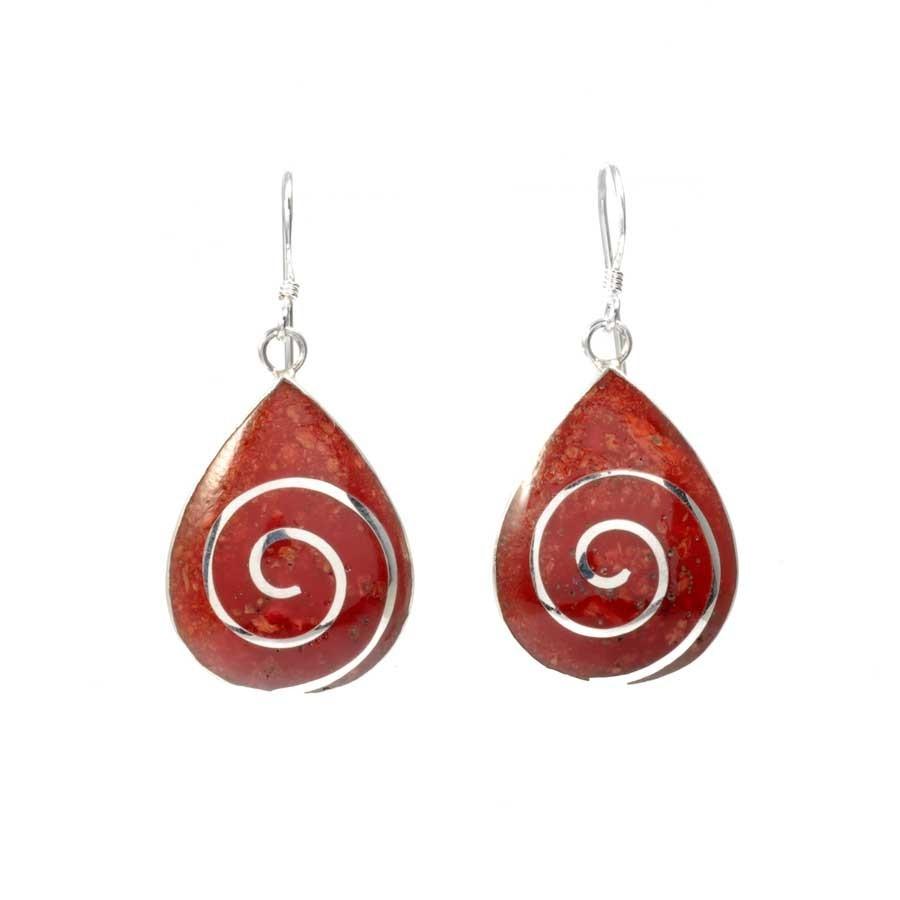 Boucles d'oreilles goutte spirales d'argent et corail - NACRE & CORAIL - Boutique Nirvana