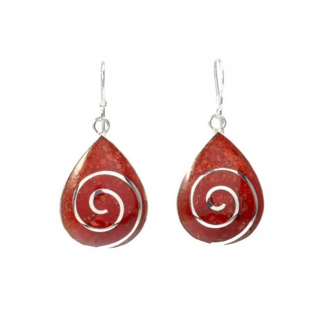 Coral and Silver Teardrop Earrings - CORAL & NACRE - Boutique Nirvana