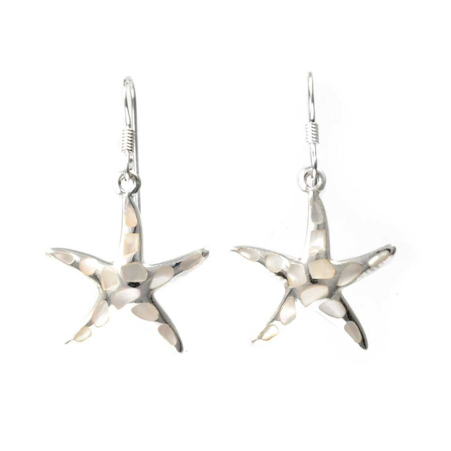 Silver Starfish Earrings in Moonstone or Turquoise - BOUCLES ARGENT CORAIL & NACRE - Boutique Nirvana