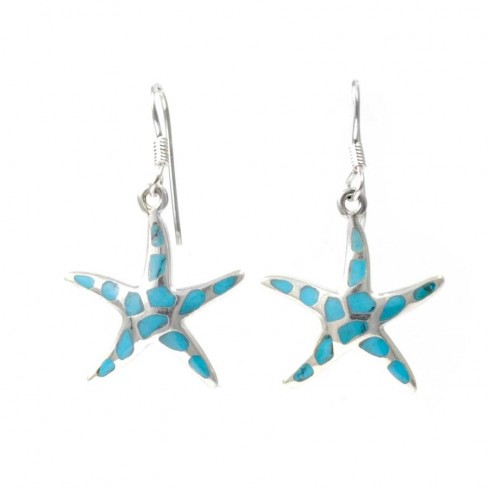 Silver Starfish Earrings in Moonstone or Turquoise - Mineral Gemstones - Boutique Nirvana