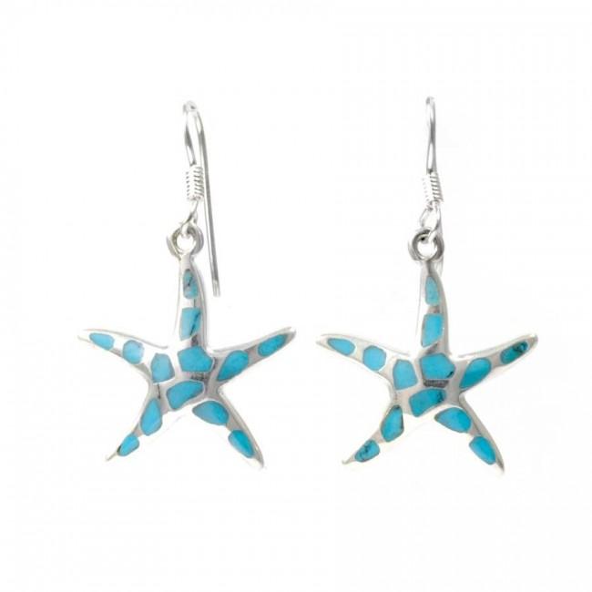 Boucles d'oreilles argent étoile émail - PIERRES NATURELLES - Boutique Nirvana