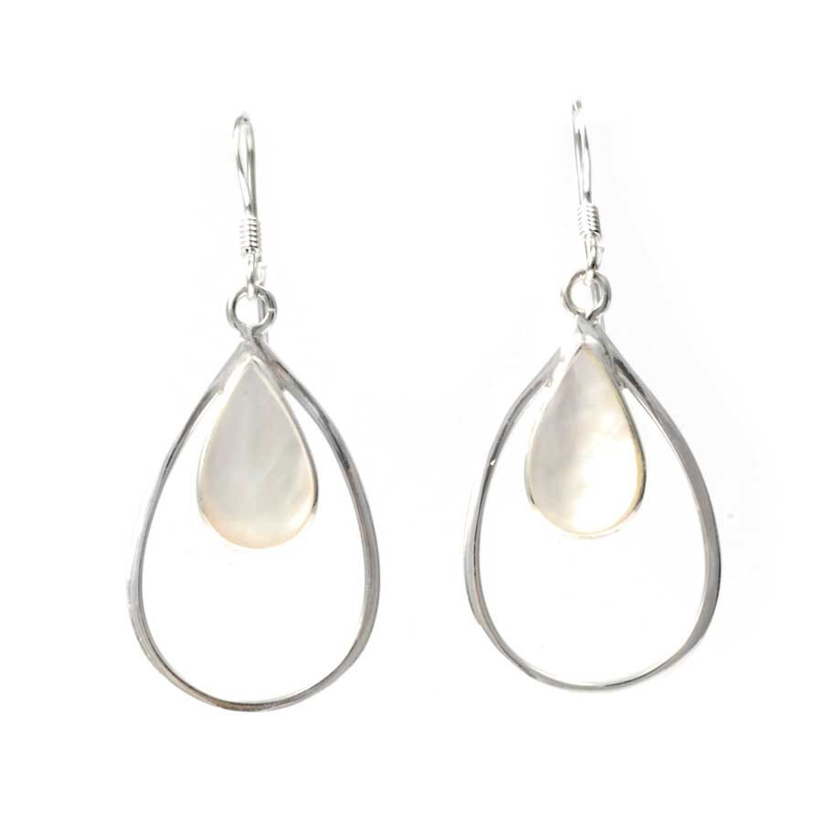 Fair Trade Silver and Natural Stone Earrings - BOUCLES ARGENT CORAIL & NACRE - Boutique Nirvana