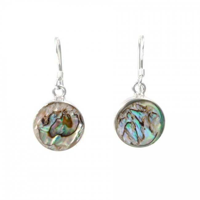 Beautiful Circular Natural Stone Drop Earrings - BOUCLES ARGENT CORAIL & NACRE - Boutique Nirvana