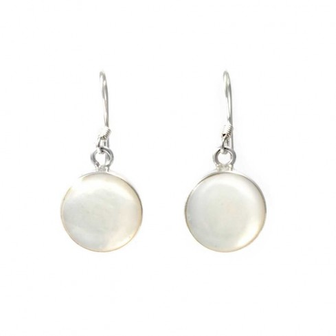 Beautiful Circular Natural Stone Drop Earrings - SILVER EARRINGS - Boutique Nirvana