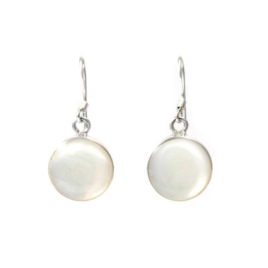 Boucles d'oreilles argent pierre ronde - Corail, nacre etc. - Boutique Nirvana