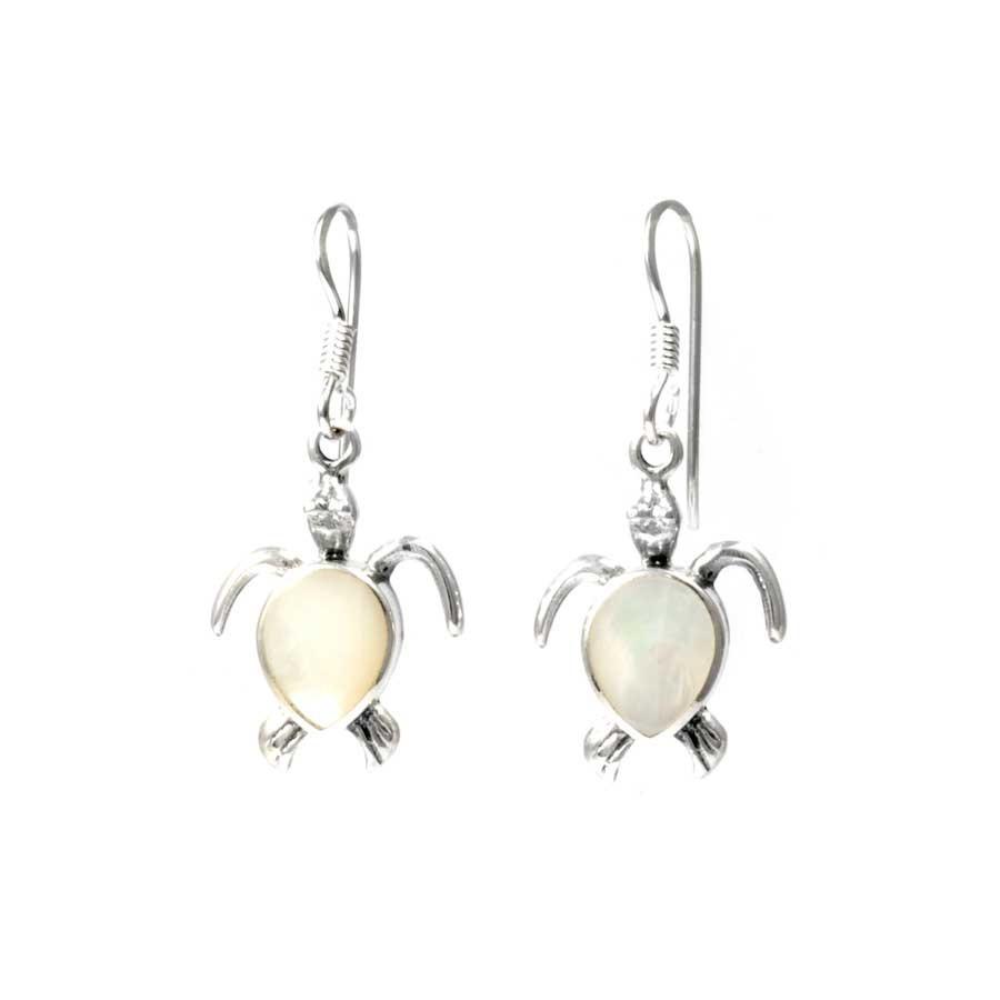Natural Stone Sea Turtle Earrings - BOUCLES ARGENT CORAIL & NACRE - Boutique Nirvana
