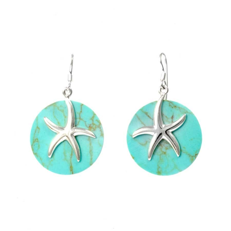 Indonesian Starfish Natural Stone Earrings - CORAL & NACRE - Boutique Nirvana