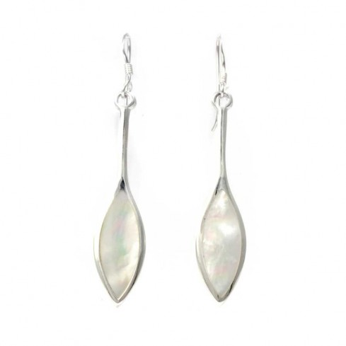Long Leaf-Shaped Gemstone Earrings - BOUCLES ARGENT CORAIL & NACRE - Boutique Nirvana