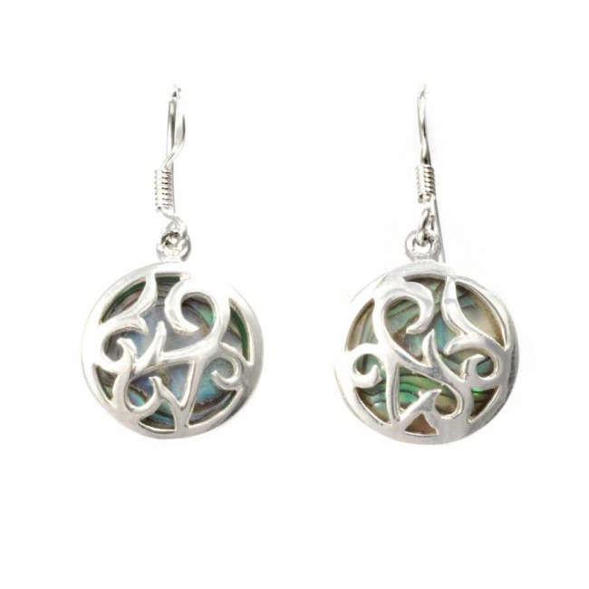 Natural Stone and Silverwork Circular Earrings - SILVER EARRINGS - Boutique Nirvana