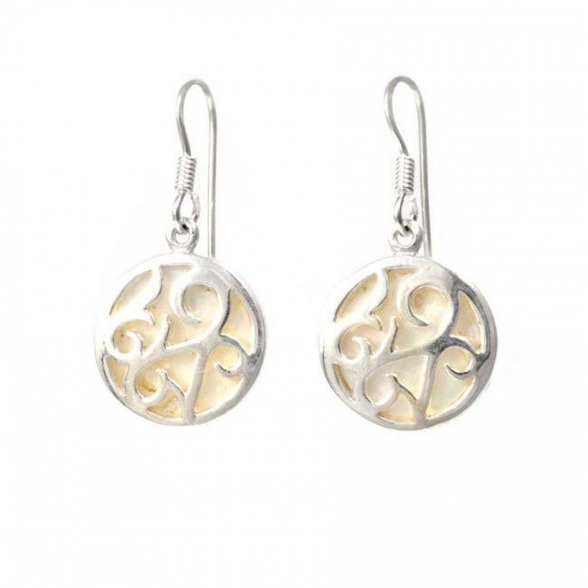 Natural Stone and Silverwork Circular Earrings - BOUCLES ARGENT CORAIL & NACRE - Boutique Nirvana