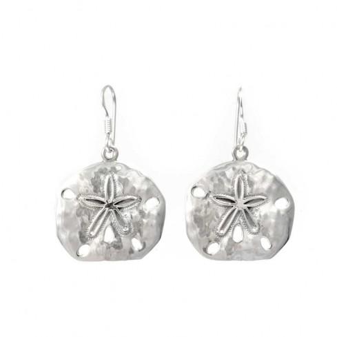 Boucles d'oreilles en argent martelées avec étoile - BOUCLES ARGENT - Boutique Nirvana