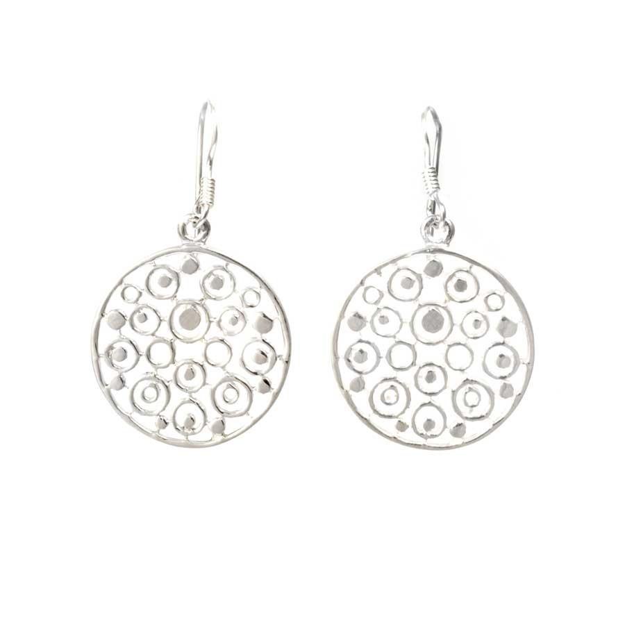 Boucles d'oreilles en argent rondes ajourées - BOUCLES ARGENT - Boutique Nirvana