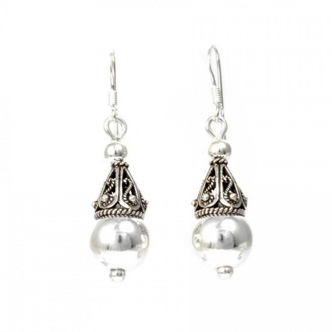 Indonesian Silver Drop Earrings - SILVER EARRINGS - Boutique Nirvana