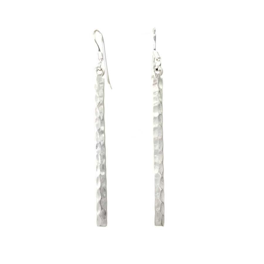 Hammered Silver Dangle Earrings - SILVER EARRINGS - Boutique Nirvana