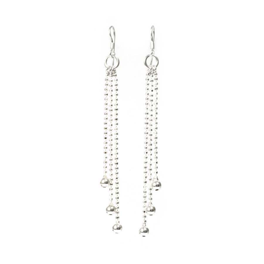 Ethnic Silver Beaded Dangle Earrings - SILVER EARRINGS - Boutique Nirvana