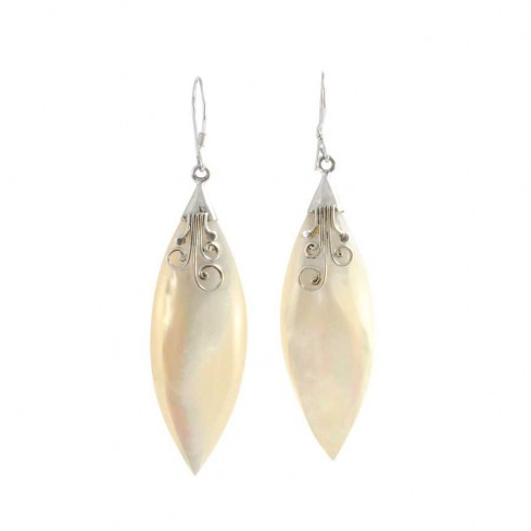 Marquise Shell and Silver Earrings - SILVER EARRINGS - Boutique Nirvana