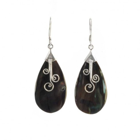 Indonesian Abalone Shell Drop Earrings - SILVER EARRINGS - Boutique Nirvana
