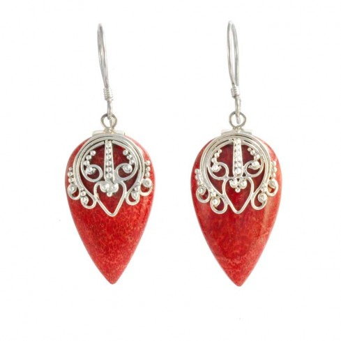 Detailed Silverwork and Gemstone Drop Earrings - BOUCLES ARGENT CORAIL & NACRE - Boutique Nirvana