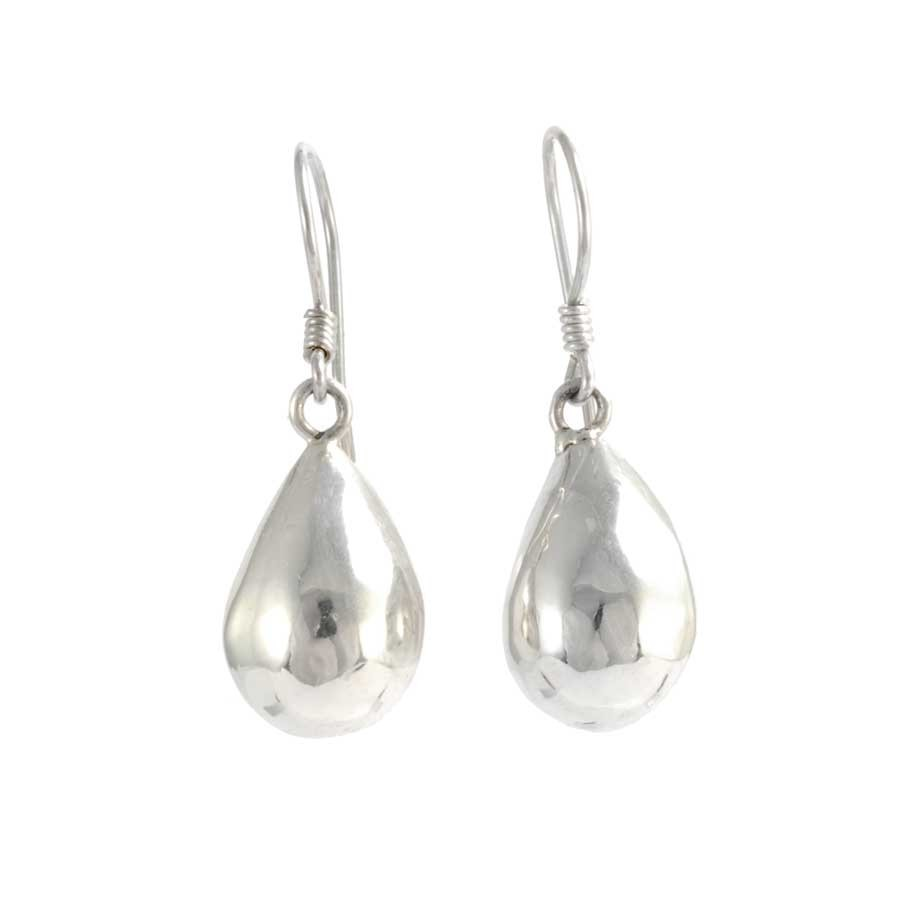 Small Smooth Silver Drop Earrings - SILVER EARRINGS - Boutique Nirvana