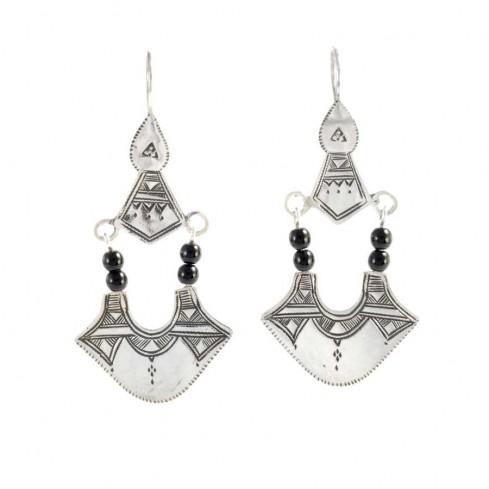Boucles d'oreilles argent Touareg perles noires