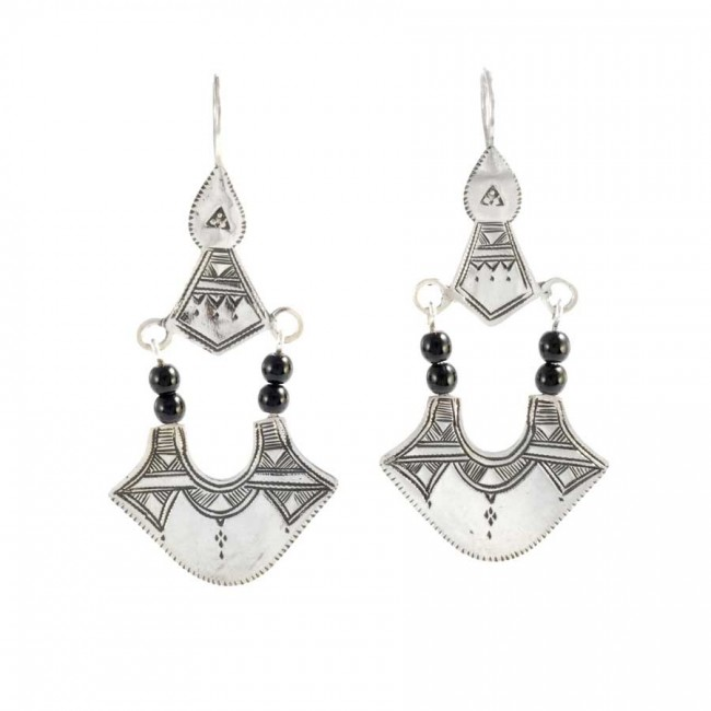 Boucles d'oreilles argent Touareg perles noires - BOUCLES ARGENT - Boutique Nirvana