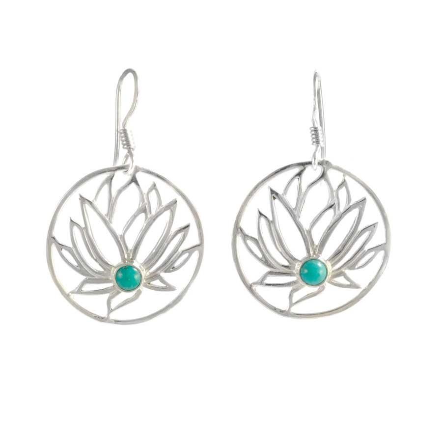 Boucles d'oreilles argent Lotus pierre - BOUCLES ARGENT - Boutique Nirvana