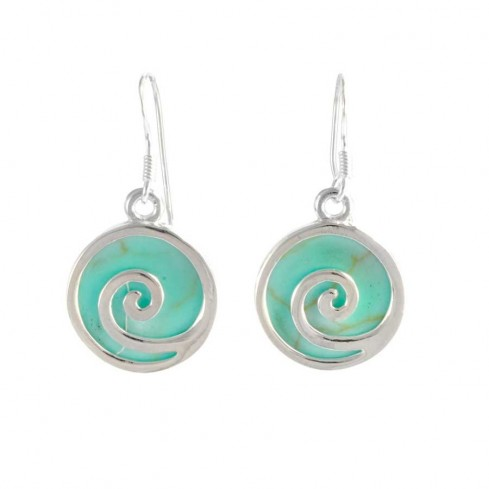 Natural Stone and Silver Spiral Earrings - BOUCLES ARGENT CORAIL & NACRE - Boutique Nirvana
