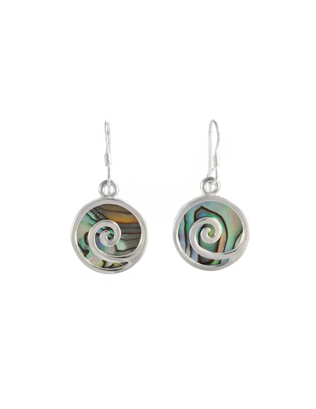 boucles d 39 oreilles argent rondes spirales pierres boutique nirvana. Black Bedroom Furniture Sets. Home Design Ideas